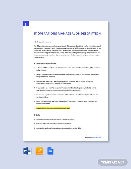 Free IT Operations Manager Job Description Template