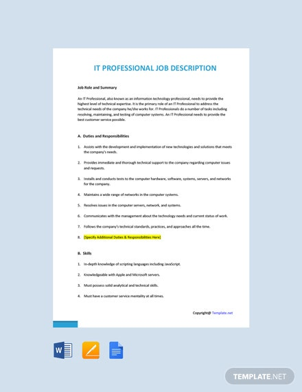 Free IT Professional Job Ad and Description Template