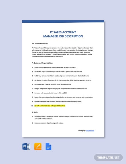 Free IT Sales Account Manager Job Ad and Description Template