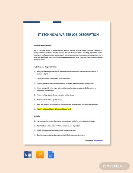 Free IT Technical Writer Job Ad/Description Template