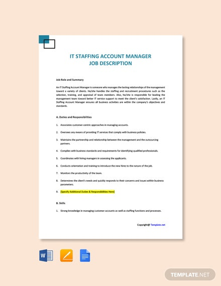 Free IT Staffing Account Manager Job Ad/Description Template