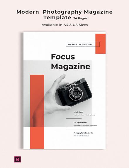 Free Modern Photography Magazine Template