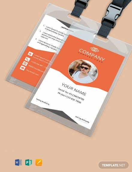 Free Sample Company ID Card Template