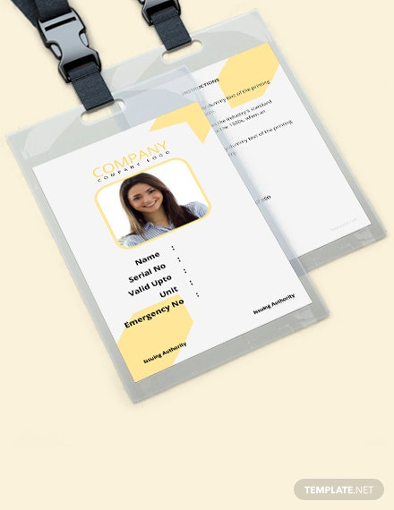 Free Simple Blank ID Card Template