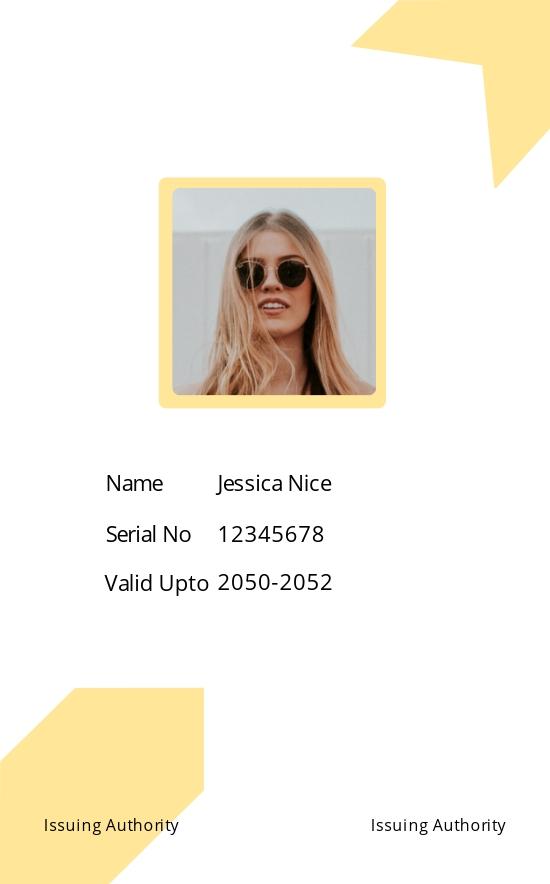 Simple Blank ID Card Template