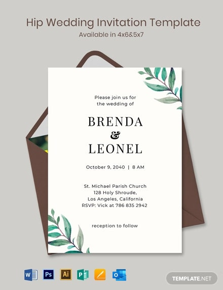 Hip Wedding Invitation Template