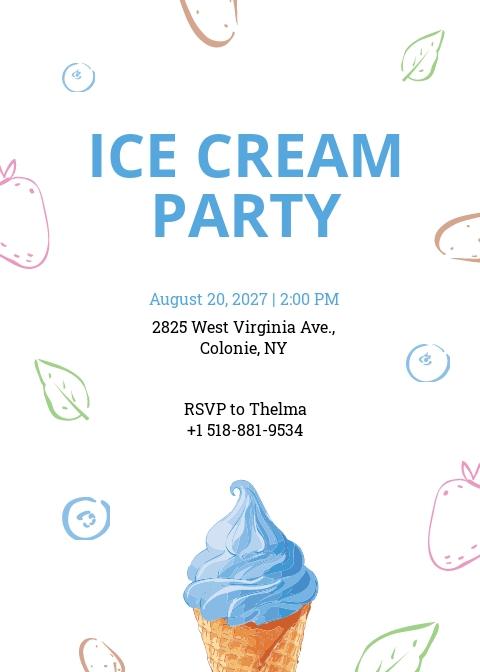 Ice Cream Party Invitation Template