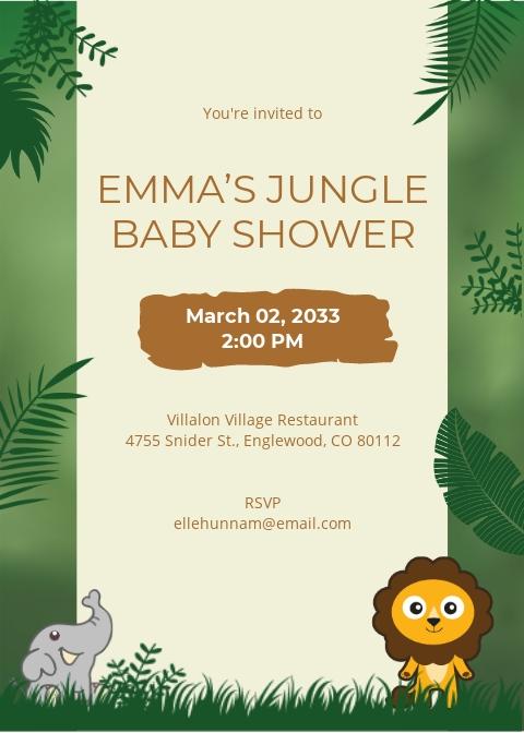 Jungle Baby Shower Invitation Template