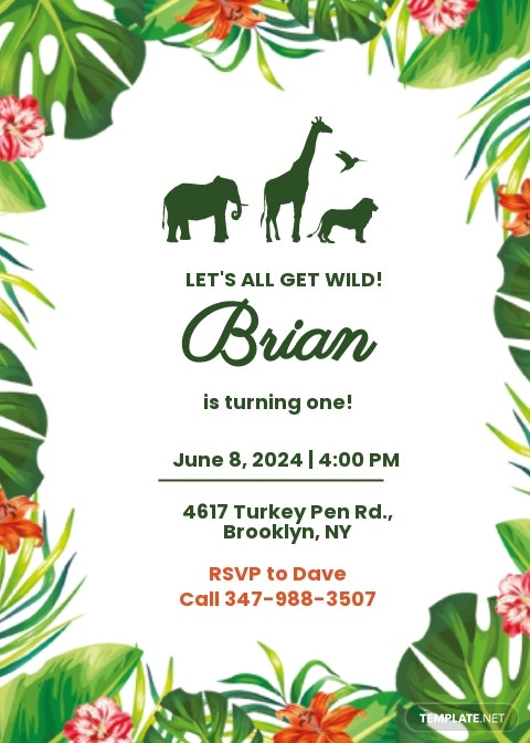 Jungle Birthday Invitation Card Template.jpe