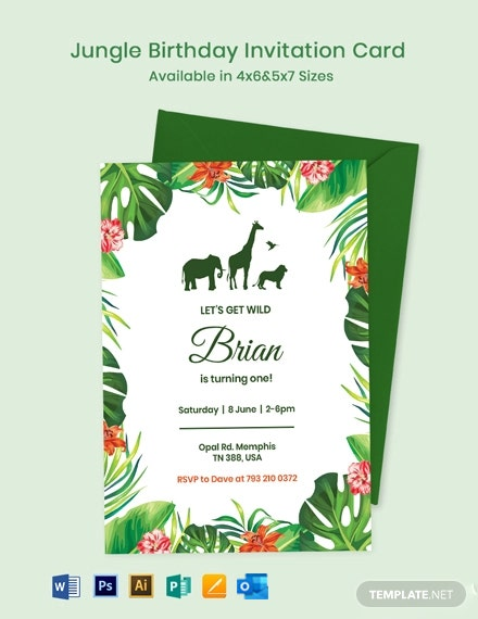Jungle Birthday Invitation Card  Template