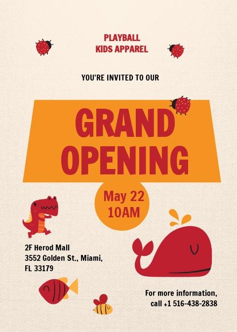 Kids Store Grand Opening Invitation Template