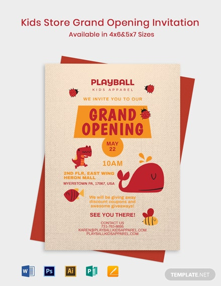 Kids Store Grand Opening Invitation Template