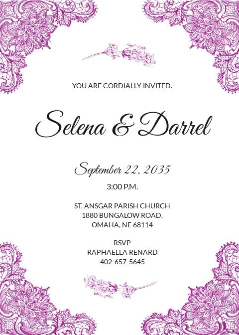 Lace Border Wedding Invitation Template