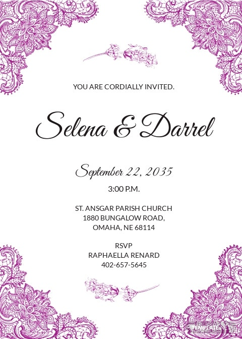 Lace Border Wedding Invitation Template