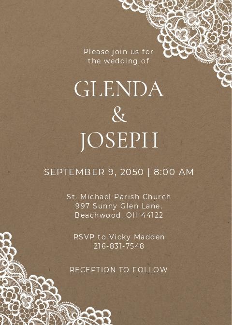 Lace Wedding Invitation Card Template