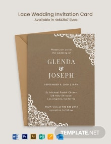 Lace Wedding Invitation Card Template