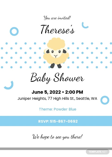 Lamb Baby Shower Invitation Template