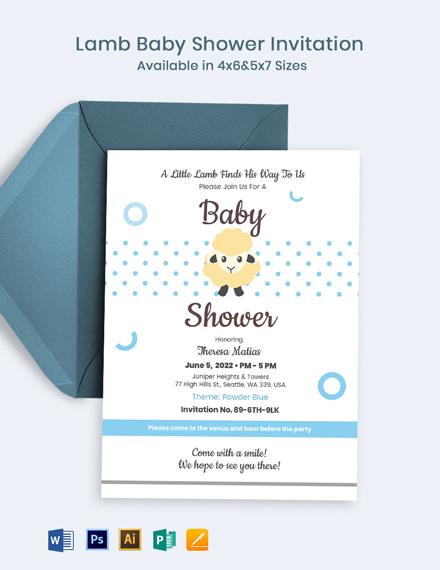Lamb Baby Shower Invitation Template