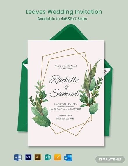 Leaves Wedding Invitation Template