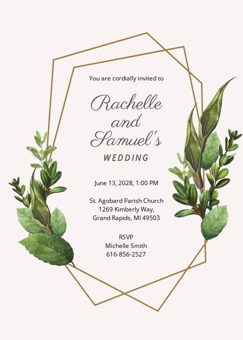 Leaves Wedding Invitation Template