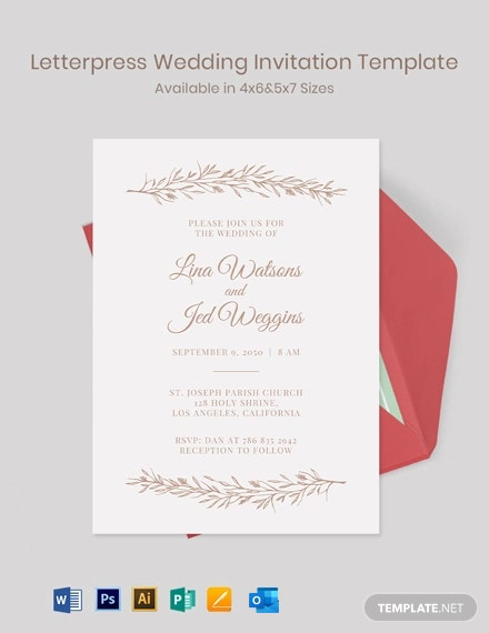 Free Modern Letterpress Wedding Invitation Template