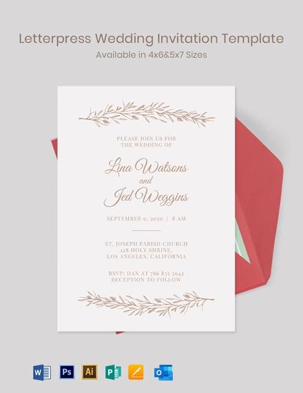 Free Modern Letterpress Wedding Invitation Template