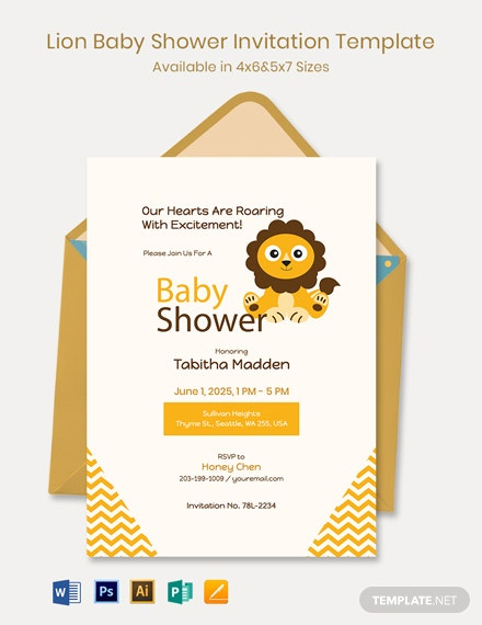Lion Baby Shower Invitation Template