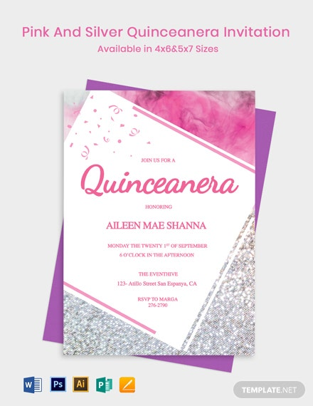 Pink and Silver Quinceanera Invitation Template
