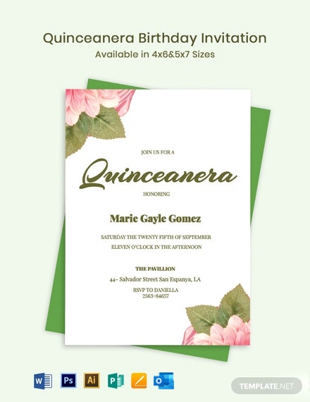 Quinceanera Birthday Invitation Template