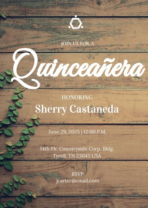 Rustic Quinceanera Invitation Template