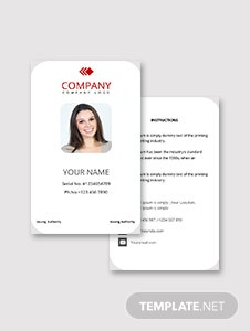Worker ID Card Template