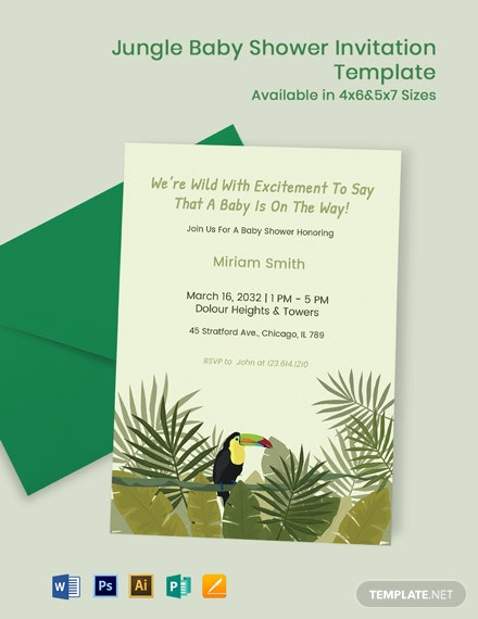 Jungle Theme Baby Shower Invitation Template