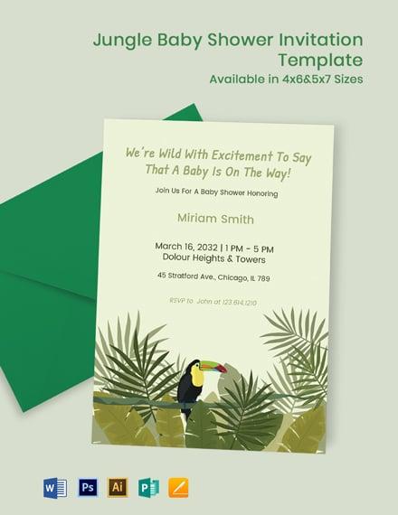 Jungle Theme Baby Shower Invitation Template