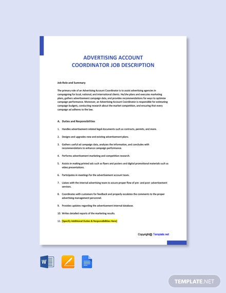 Free Advertising Account Coordinator Job Ad/Description Template