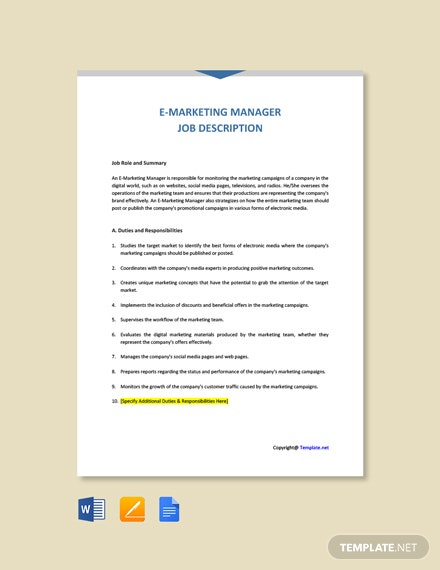 Free E- Marketing Manager Job Ad/Description Template