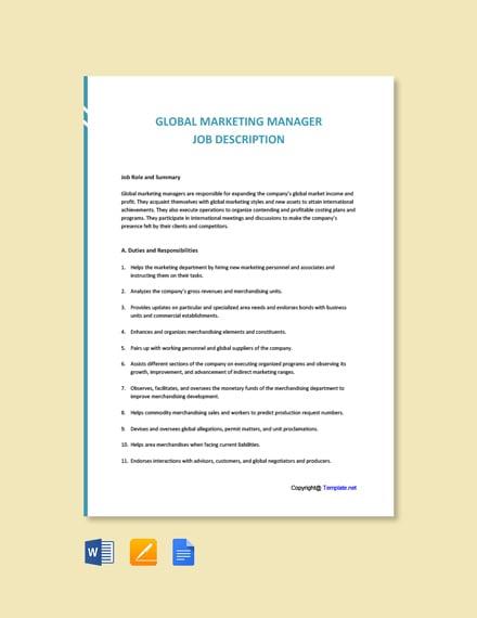 Free Global Marketing Manager Job Ad/Description Template
