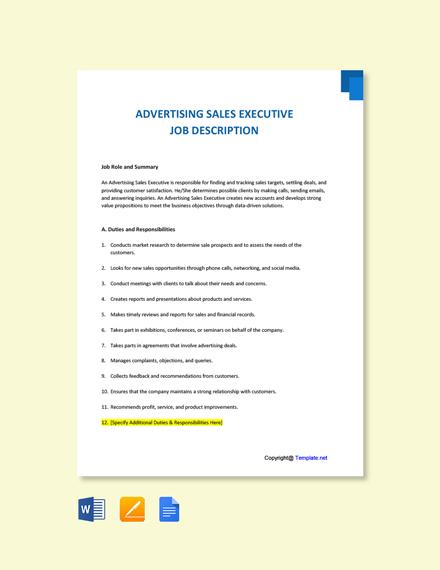Free Advertising Sales Executive Job Ad/Description Template