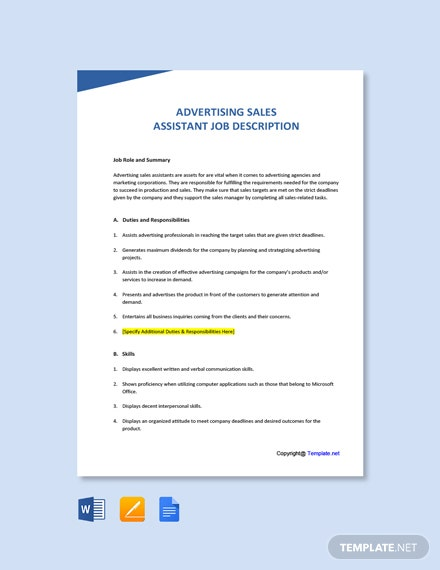 Advertising Sales Assistant Job Ad and Description Template