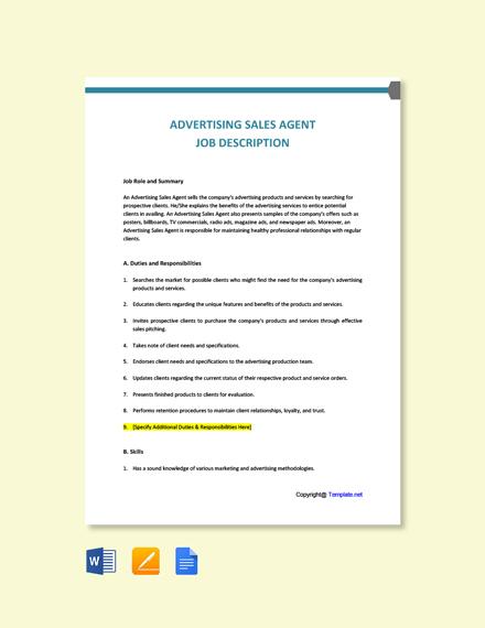 Free Advertising Sales Agent Job Description Template