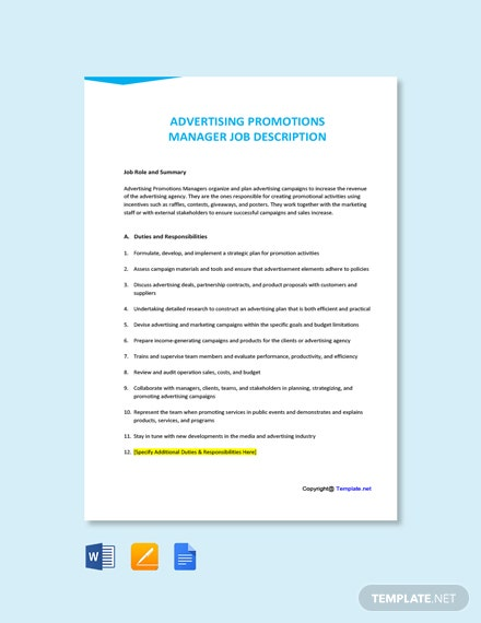 Free Advertising Promotions Manager Job Description Template