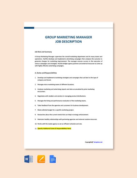Free Group Marketing Manager Job Description Template