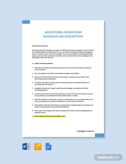 Free Advertising Operations Manager Job Description Template