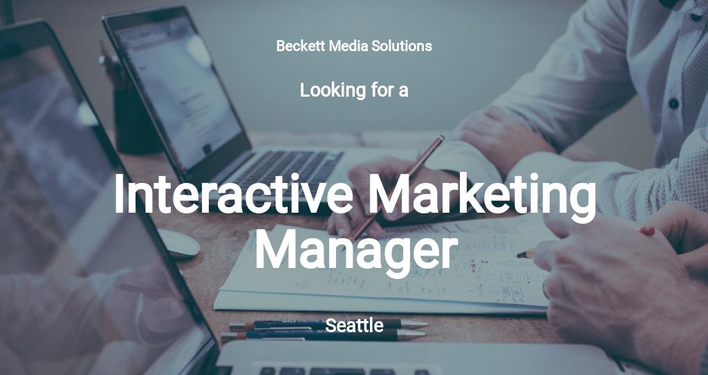 Interactive Marketing Manager Job Description Template