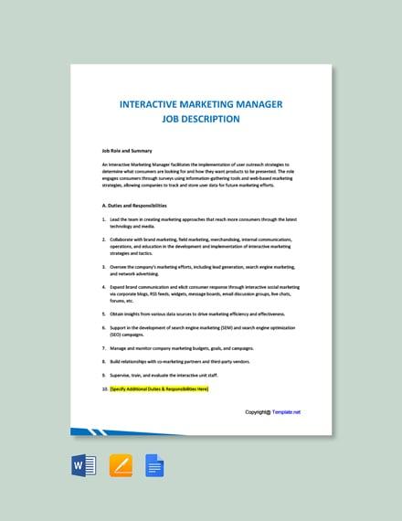 Free Interactive Marketing Manager Job Description Template