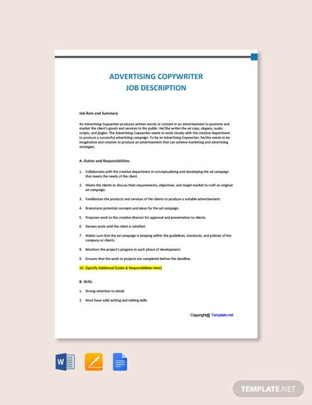 Free Advertising Copywriter Job Description Template