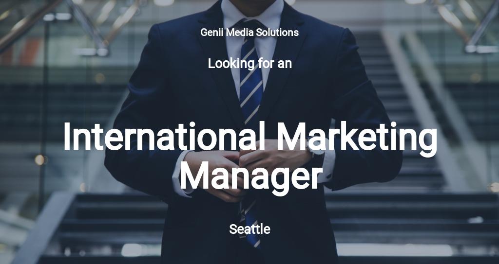 International Marketing Manager Job Description Template