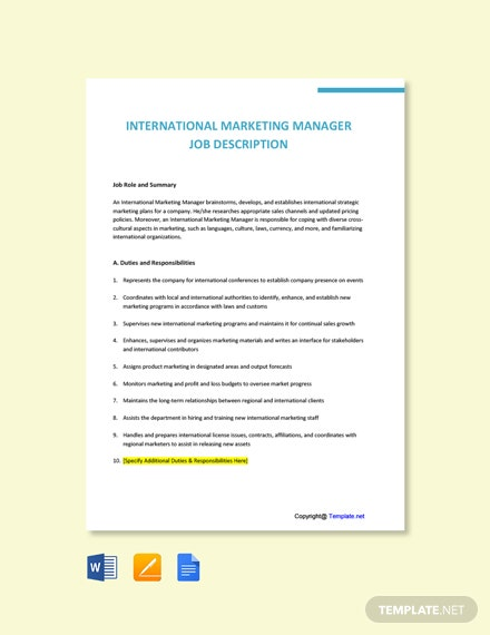 Free International Marketing Manager Job Description Template