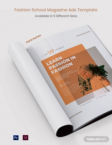Free Fashion School Magazine Ads Template
