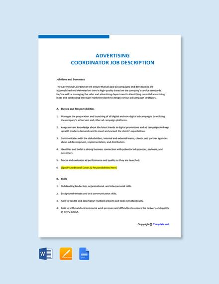 Free Advertising Coordinator Job Description Template