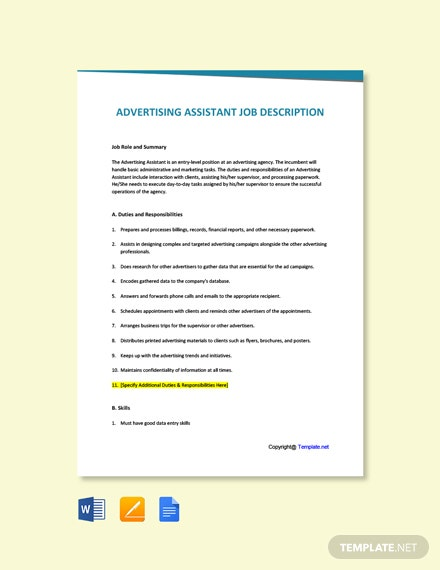 Free Advertising Assistant Job Description Template